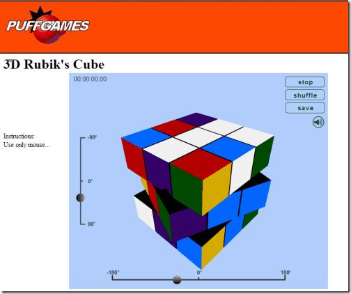 3D Rubik's Cube at PuffGames
