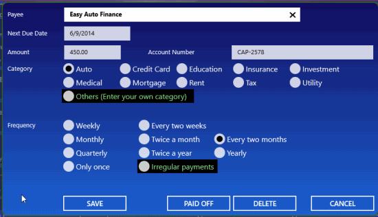 Bill Dashboard- Edit bills
