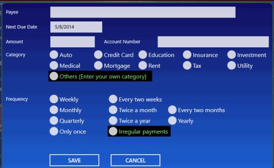 Bill Dashboard-New bill