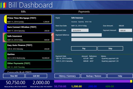 Bill Dashboard- Payment details