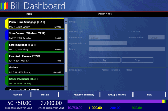 Bill Dashboard- details