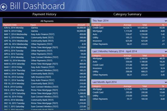 Bill Dashboard- history and summary