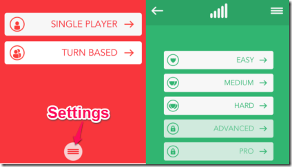 Catena Homescreen and Selecting Modes