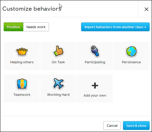 ClassDojo Add behavior