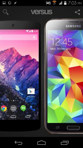 Compare Gadgets With Versus For Android