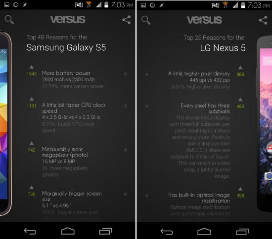 Compare results versus for android