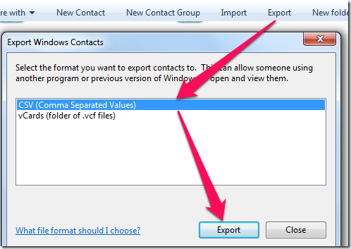Exporting Contacts