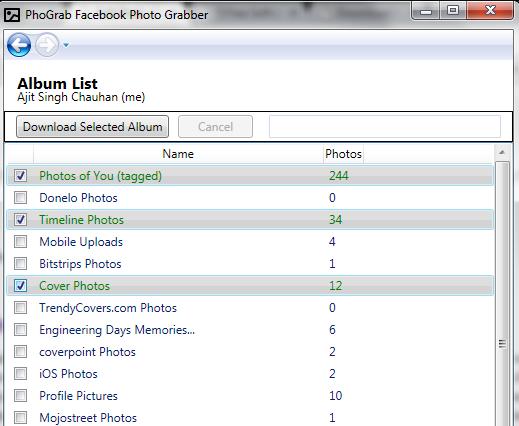 Facebook Photo Grabber- interface
