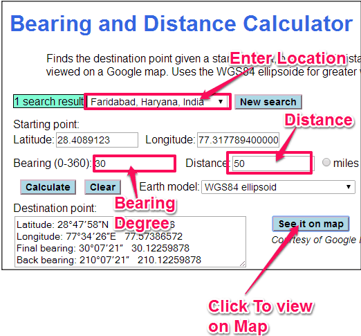 GeoMidpoint Bearing Calculator