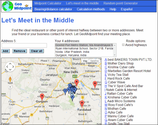 Free Online Service to Find Common Meeting Place: GeoMidpoint