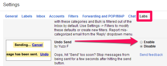 Gmail Undo Send- Enable option