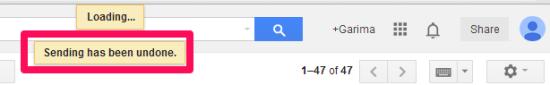 Gmail Undo Send- Sending Undone