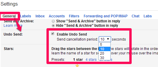 Gmail Undo Send- Time period