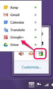 Google Panels tray icon and supported Google services