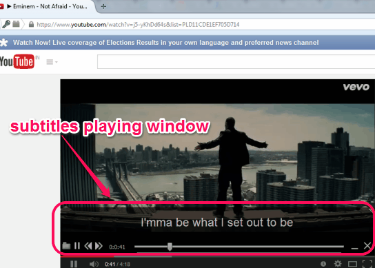 Greenfish Subtitle Player- subtitles playing window