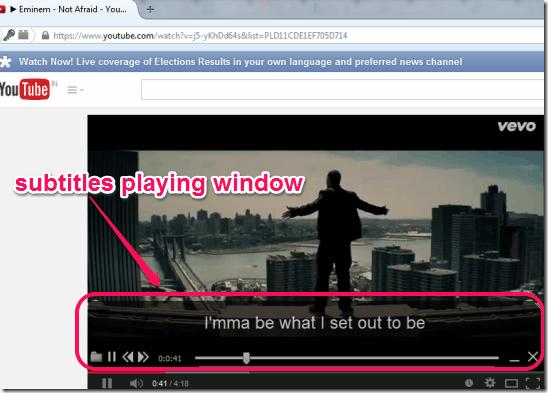 Greenfish Subtitle Player subtitles playing window