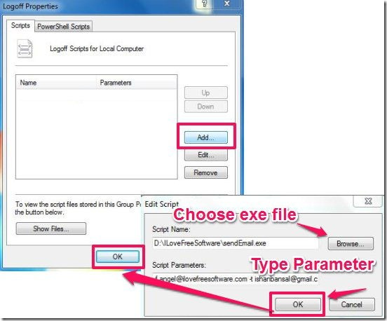 Group Policy editor-add script name and script parameter