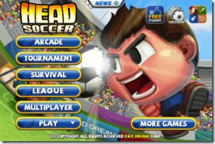 Head Soccer Home Screen