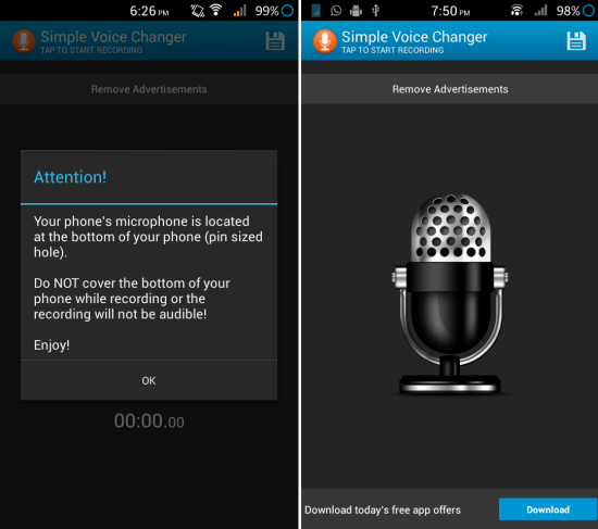 How can add effect to your voice with Simple Voice Changer for Android