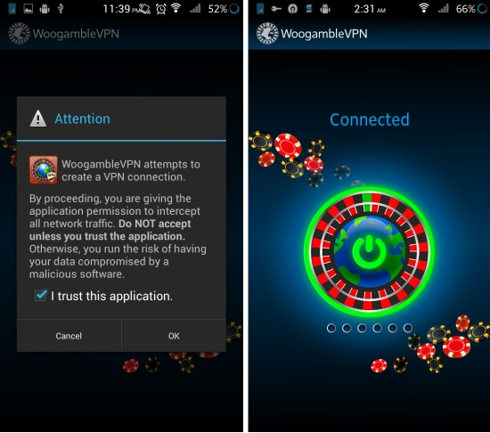 How to use WooGamble Free VPN Easy Play For Android