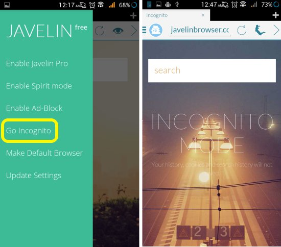 Incognito mode in Javelin Browser for Android