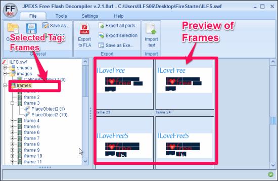 JPEXS Free Flash Decompiler Decompiling Frames