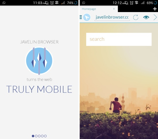 Javelin Browser for Android  Gorgeous Brower with reading mode, gesture based interface, and more
