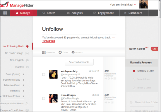 Mass Unfollow Twitter Users- ManageFlitter