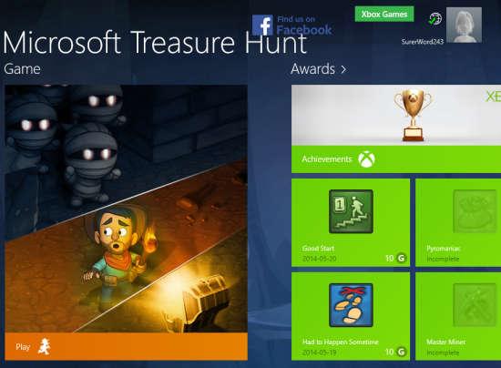 Microsoft Treasure Hunt-Home Screen
