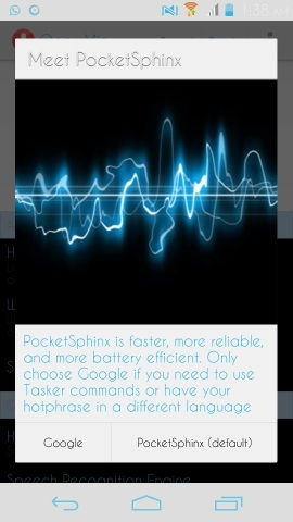 Open Mic + for Google Now pocketsphinx