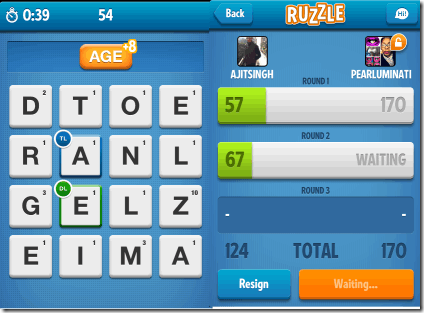 Playing Ruzzle