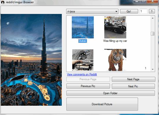 Reddit Imgur Browser Downloader- interface