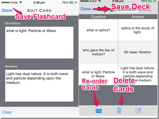 Saving Flashcards and Deck