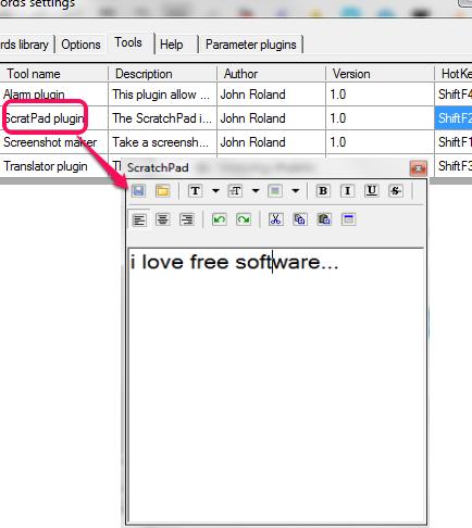 ScratchPad plugin