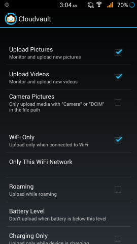 Settings in CloudVault Photo Uploader for Android