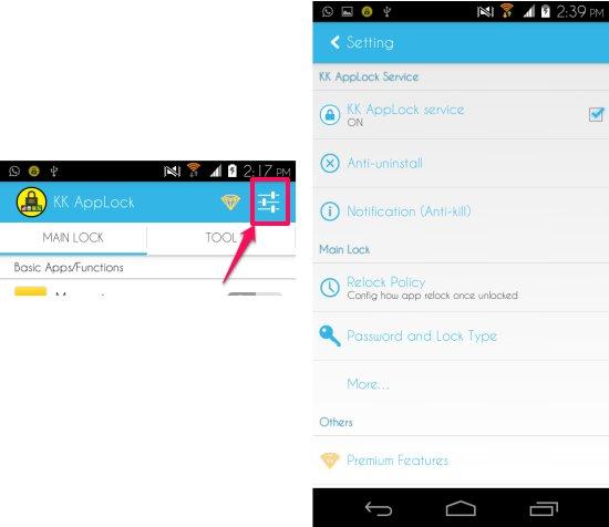 Settings in KK AppLock for Android