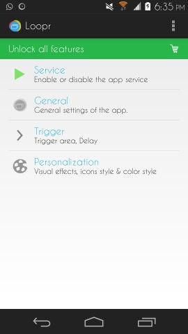Settings in Loopr for Android