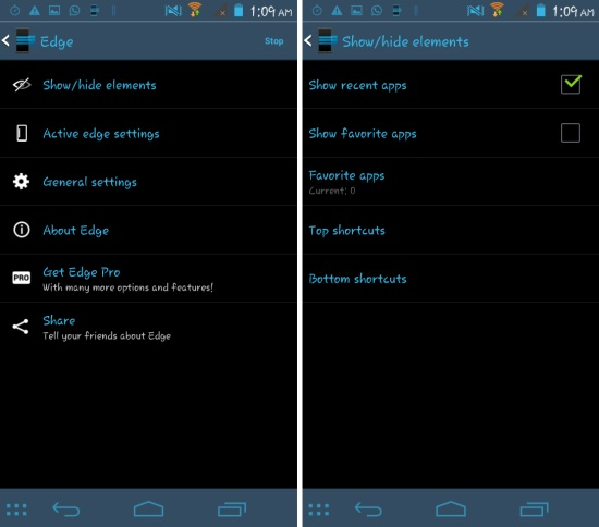 Settings in Using Edge Quick Actions for Android