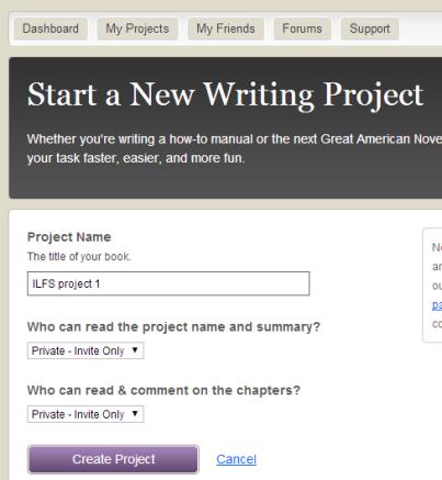 Start a writing project