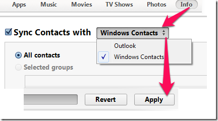 Syncing Contacts With iTunes