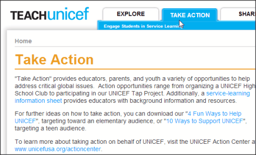 TeachUNICEF Take Actions