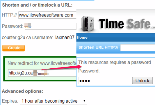 Time Safe- URL shortener service