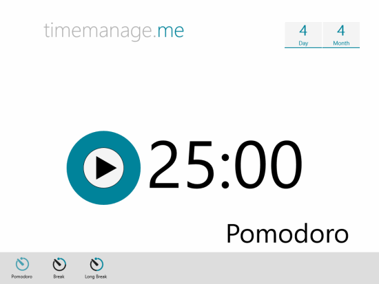 TimeManage.me-Main page