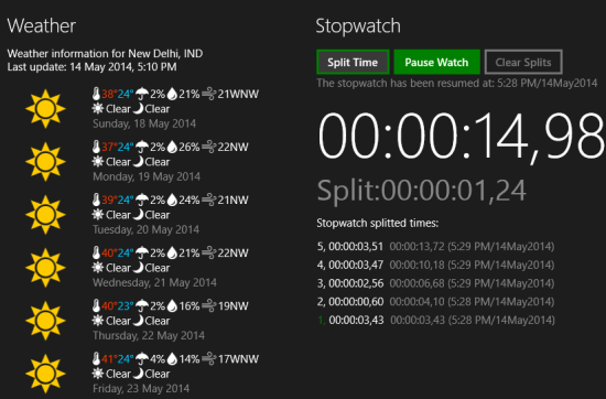 TimeMe Tile- Weather and stopwatch