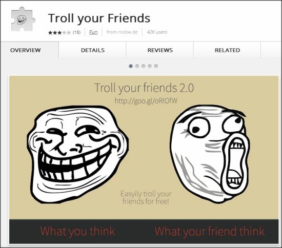 Troll your Friends extension Homepage