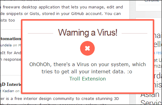 Troll your Friends extension Virus