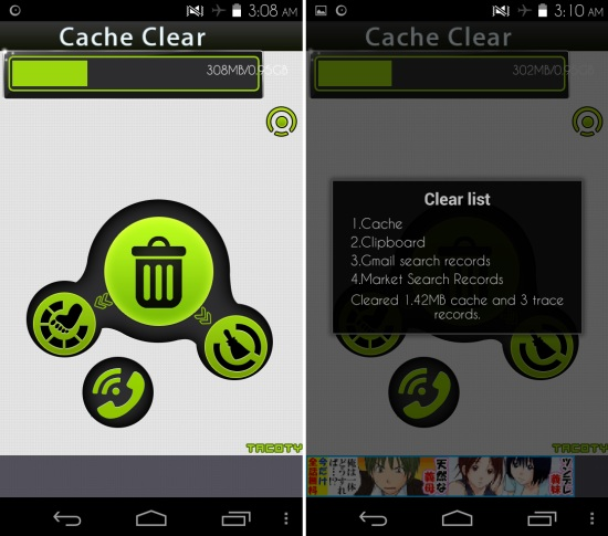Using Cache Clear for Android