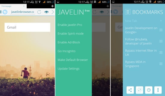 Using Javelin Browser for Android