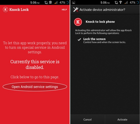 Using Knock Lock for Android