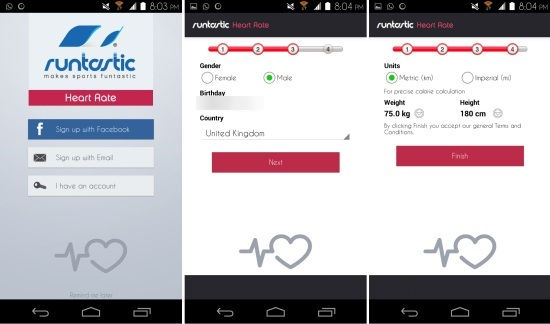 Using Runtastic Heart Rate for Android